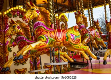 Carousel Horse with traditional paintwork with lots of gold.name on his neck