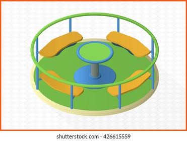 carousel isometric perspective view flat 3d illustration