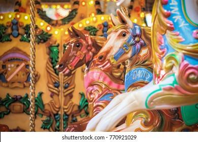 Carousel, merry go round, at Christmas funfair winter wonderland of London