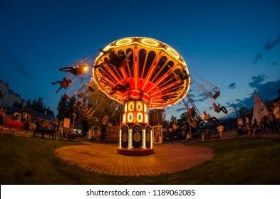 Carousel ride at night