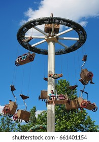Carousel roman tower with two-seater carriages with joystick controller. Attraction in Familypark, St. Margarethen, Burgenland, Austria, June 2017.