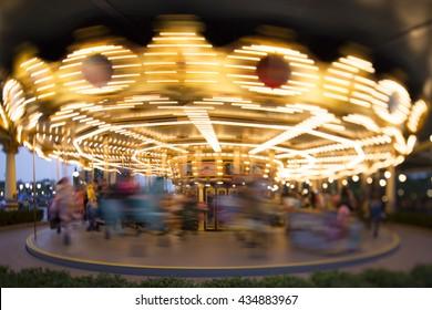 Carousel in running,shot by Tilt-Shift lens
