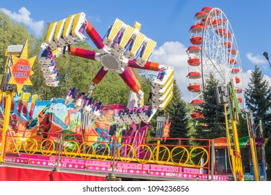 Carousels and attractions in the children's park. Cheboksary, Russia, 19/05/2018