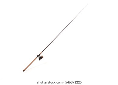 Carp feeder fishing rod in full size image (with the coil) isolated on white background with soft shadow. Clipping path