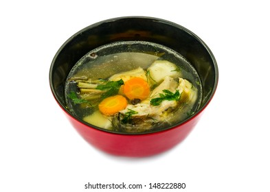 CARP FISH SOUP WITH ORGANIC HERBS, ISOLATED