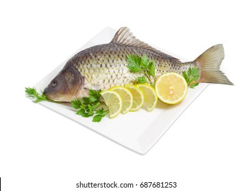 Carp with peeled scales and prepared for cooking, twigs of the parsley and lemon slices on white square dish on a white background