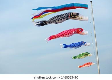 Carp streamer swimming in the wind