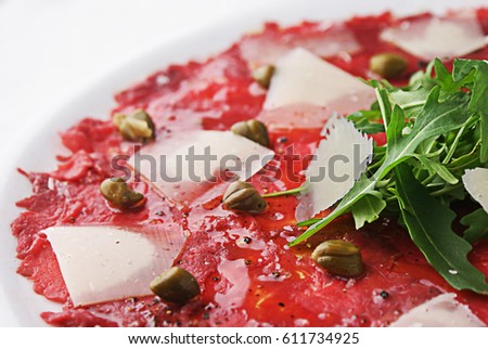Carpaccio with cheese.