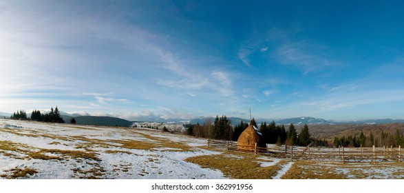 Carpathian mountain valley covered with fresh snow. Majestic landscape. Ukraine, Europe