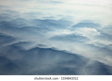 Carpathian Mountains from above at winter