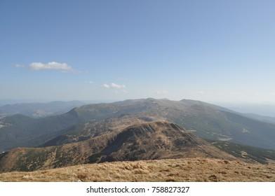 Carpathian Mountains Forest Clouds Hoverla Rock. Ukraine