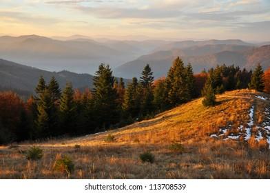 Carpathian mountains in late Autumn, Ukraine