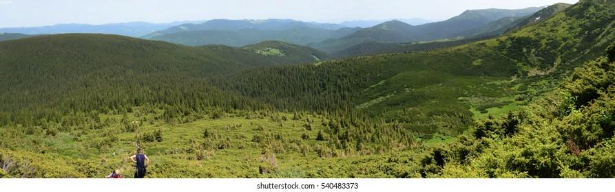 Carpathian Mountains Panorama from Hoverla, Ukraine