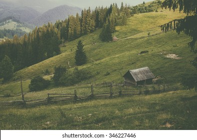 Carpathian mountains summer landscape with green hills and wooden house, vintage hipster amazing background