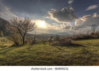 Carpathian Mountains sunset in spring