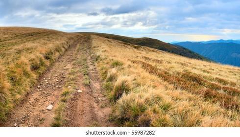 Carpathian Mountains (Ukraine) landscape with country road. Three shots composite picture.