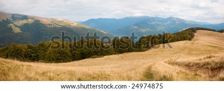 Carpathian Mountains (Ukraine) landscape and snow on distant top. Three shots composite picture.