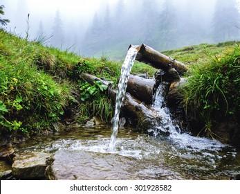 Carpathians, source of spring fresh water. Near mount Petros