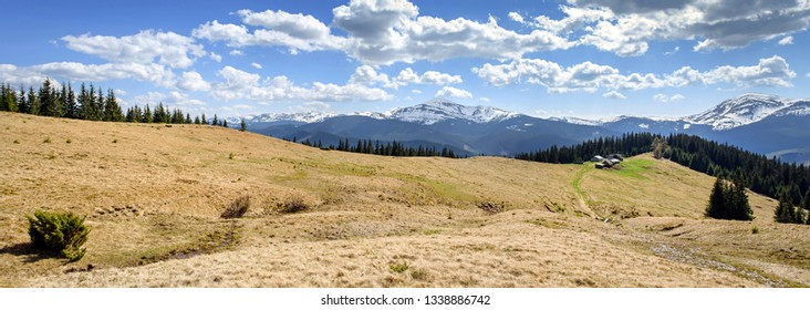 Carpatian mountains landscapes in spring, wide panorama