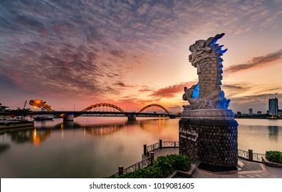 Carp-Dragon Statue and Dragon Bridge in Danang City, Vietnam , January 25th 2018. Da Nang City is a famous city for travel in Vietnam.Carp-Dragon Statue and Dragon Bridge are famous places for visit .