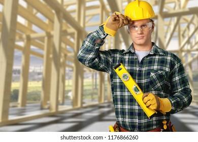 Carpenter Contractor Man Wearing Gogles Toolbelt Hardhat