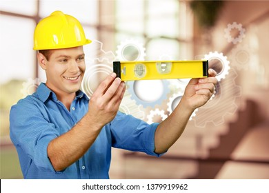 Carpenter Contractor Man Wearing Gogles Toolbelt Hardhat Isolated on White