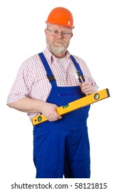 Carpenter with hardhat holding tools - isolated on white