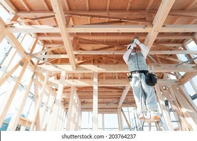 Carpenter of housing construction.