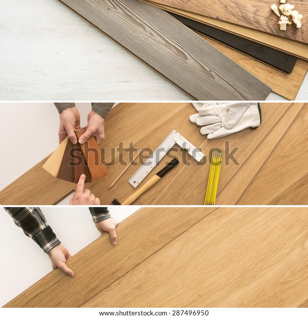 Carpenter installing wooden flooring  planks, home renovation and improvement concepts banners set