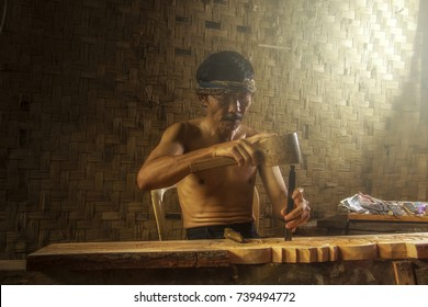 A Carpenter showing his skills in the Southern Part of Jakarta, Indonesia. 01 June 2013
