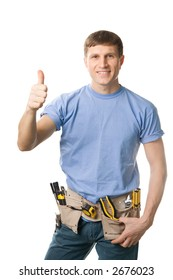 Carpenter with thumbs up sign, isolated on white