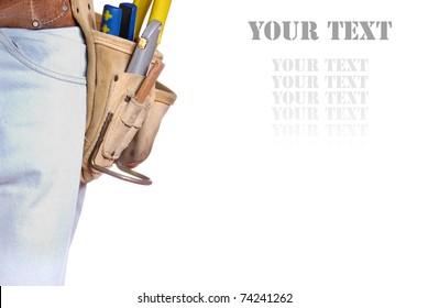 Carpenter tool belt closeup with copy-space