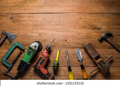 carpenter tools on table woodwork with copy space using as background.