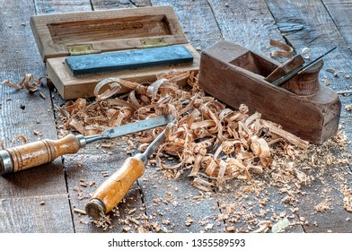 Carpenter tools on a work bench carpentry.