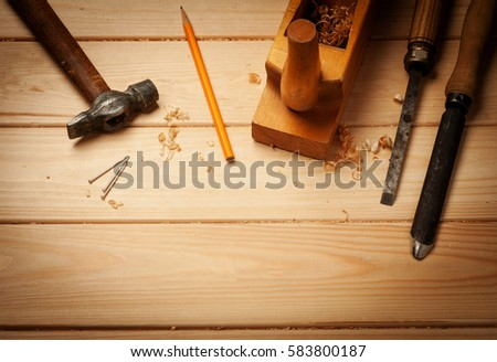 Carpenter Tools Pine Wood Table Top Stock Photo Edit Now 583800187