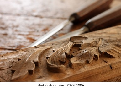 Carpenter wood chisel tool with carving