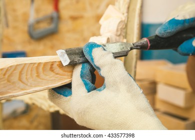 Carpenter working hands