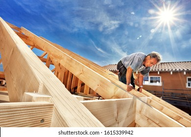 Carpenters Setting up a Half-timbered Building and the Timber Ro