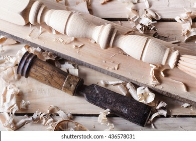 Carpentry concept . Joiner carpenter workplace top view. Construction tools on wooden table with sawdust. Copy space for text