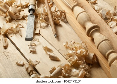 Carpentry concept.Joiner carpenter workplace. Construction tools on wooden table with sawdust. Copy space for text.