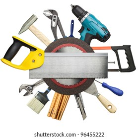 Carpentry, construction tools collage background.