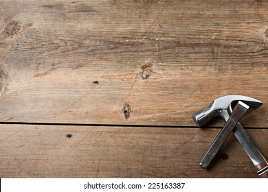 Carpentry tools on a wooden table top