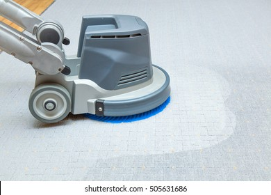 Carpet chemical cleaning with professionally disk machine. Early spring cleaning or regular clean up.