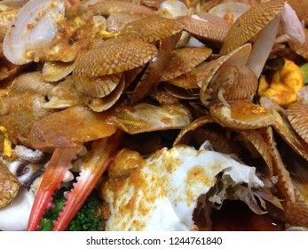 Carpet clam or surf clam or baby clam cook in menu stir Fried Clams with Roasted Chili
