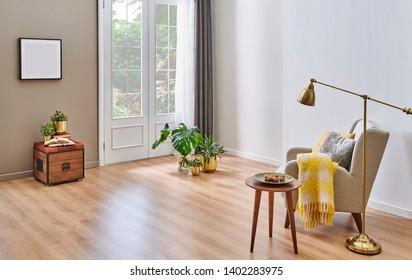 Carpet design modern decorative background, grey sofa armchair coffee table and lamp decor.
