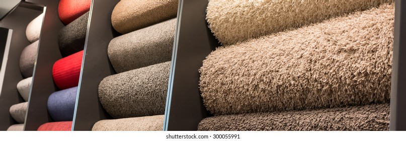 Carpet rolls in different colors