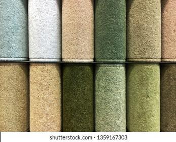 Carpet samples in a homeware store