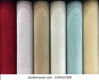 Carpet samples in a homeware store