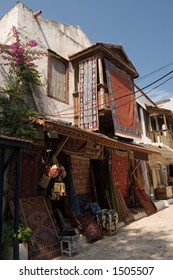 A carpet shop in Kas, Turkey, in a typical old Ottoman building.