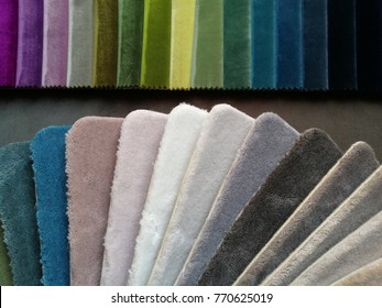 carpet and tapestry colored textile  samples